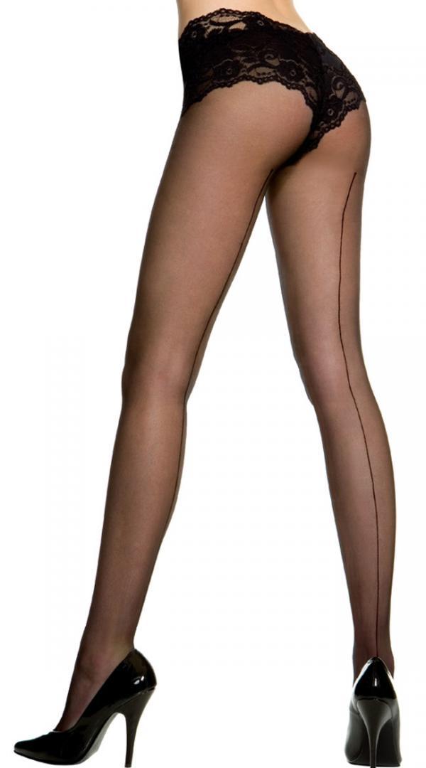 Plus Size Sheer Backseam Pantyhose By Music Legs, Black, Size Queen Size / Plus Size Pantyhose, Plus