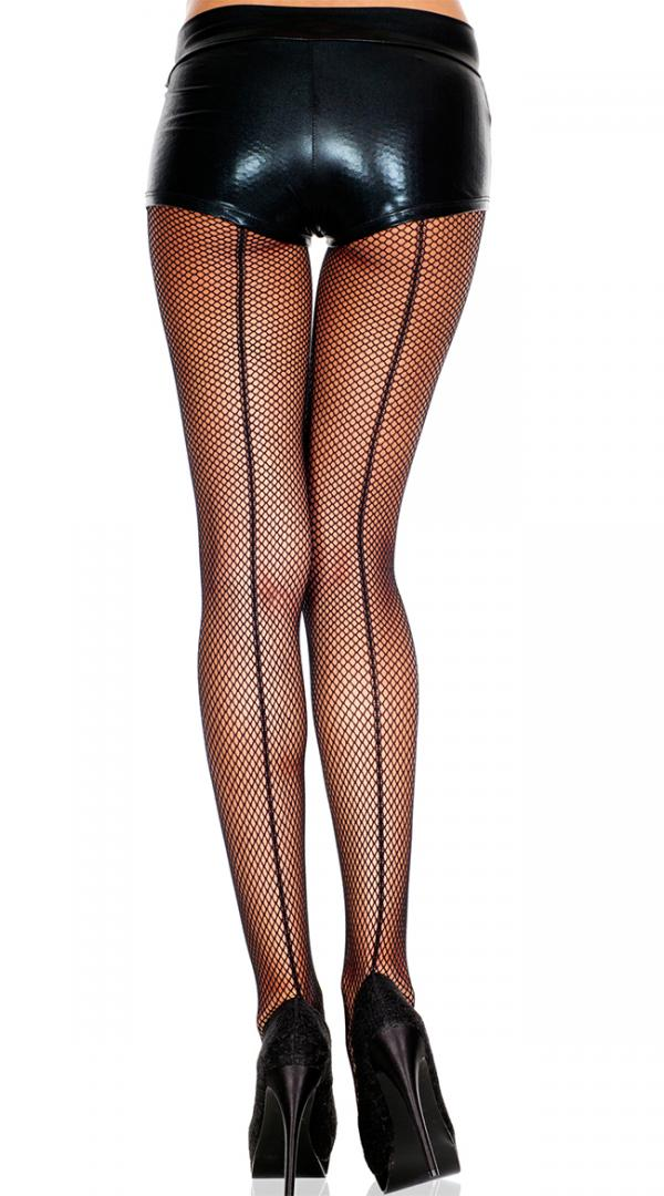 Womens Seamed Fishnet Back Seamed Footed  Stockings by Music Legs