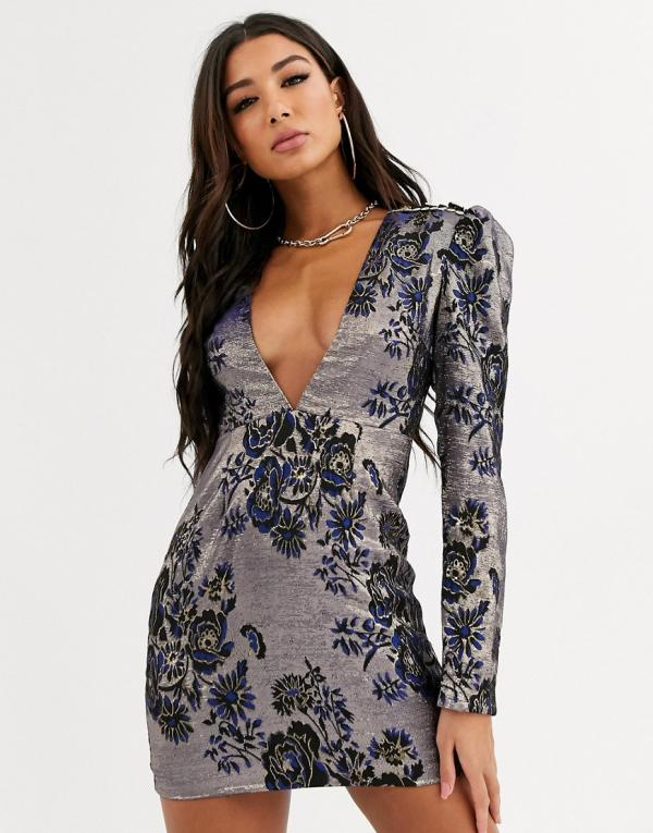 Plunging Neck Short Jacquard Back Zipper Puff Sleeves Sleeves Bodycon Dress