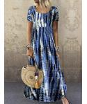 Short Sleeves Sleeves Halter Round Neck Tie Dye Print Cotton Shirt Maxi Dress