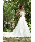 A-line Sweetheart Applique Lace-Up Beaded Corset   Waistline Tulle Sleeveless  Wedding Dress  with a Chapel Train