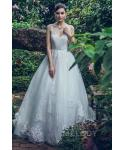 A-line V-neck 2018 Natural   Waistline Sleeveless  Beaded Lace Applique Button Closure Wedding Dress  with a Chapel Train