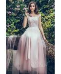 Floor Length Tulle Sheath Natural   Waistline Applique Sleeveless  Sheath Dress/Bridesmaid Dress  With a Sash