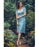 Short Sleeves  Tea Length Queen Anne Neck Lace Natural   Waistline Sheath Sheath Dress/Bridesmaid Dress