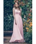 Natural   Waistline  Cap Sleeves  Chiffon Floor Length Sheath Illusion Applique Sheath Dress/Bridesmaid Dress  With a Sash