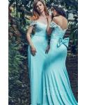 Knit Mermaid Natural   Waistline  Cap Sleeves  Scoop Neck Applique  Bridesmaid Dress  with a Brush/Sweep Train  With a Bow(s)