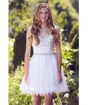 A-line Tulle Bateau Neck Keyhole Back Zipper Beaded Short Cap Short Sleeves Sleeves Prom Dress With Ruffles