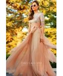 A-line Chiffon Jeweled Sequined Pleated Short Sleeves Elbow Length Sleeves Floor Length Evening Dress/Prom Dress