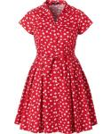 Plus Size Button Front Pleated Pocketed Belted Collared Darted Princess Seams Waistline Floral Print Dress