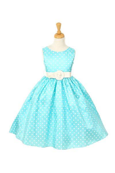 Girls Taffeta Polka Dot  Print Sleeveless   Dress