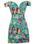 Sweetheart Floral  Print Fitted Hidden Back Zipper Princess Seams   Waistline Off the Shoulder  Short  Dress