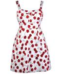 Plus Size Cotton Empire Princess Seams   Waistline Fit-and-Flare General Print Hidden Back Zipper Vintage Banding  Fitted  Dress With a Bow(s) and a Sash