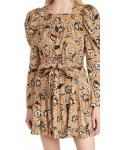 Elasticized Waistline Floral Print Belted Tiered Pocketed Rayon Long Puff Sleeves Sleeves Square Neck Dress With Ruffles