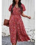 A-line V-neck Short Sleeves Sleeves Floral Print Midi Dress