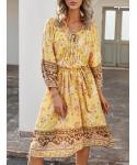 V-neck Long Sleeves Floral Print Midi Dress