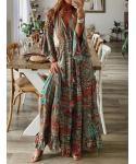 Plus Size V-neck Floral Print 3/4 Long Sleeves Vintage Shift Dress