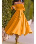 A-line Cold Shoulder Short Sleeves Sleeves Off the Shoulder Midi Dress