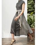 A-line Sleeveless Checkered Plaid Print Midi Dress