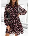 Floral Print Vintage Collared Short Beach Dress