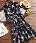 Corduroy Flared-Skirt Floral  Print  3/4 Sleeves  Stretchy Banding  Dress