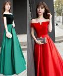 V-neck Off the Shoulder  Jeweled Choker Floor Length Evening Dress