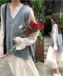 A-line V-neck Sweater Long Sleeves Midi Dress