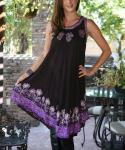 Rayon Floral Tie Dye  Print Embroidered Shift  Dress
